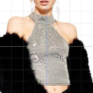 Topshop Metallic Animal Cheetah Print Crop Top